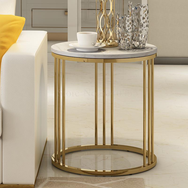 Light luxury marble side several modern tea table corner living room sofa bedroom side cabinet net red Nordic round side table