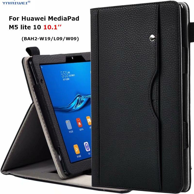 "Роскошный чехол-подставка для Huawei MediaPad M5 lite 10 BAH2-W19/L09/W09 10,1 ""чехол для планшета с ручным ремнем для Huawei C5 10 + пленка"