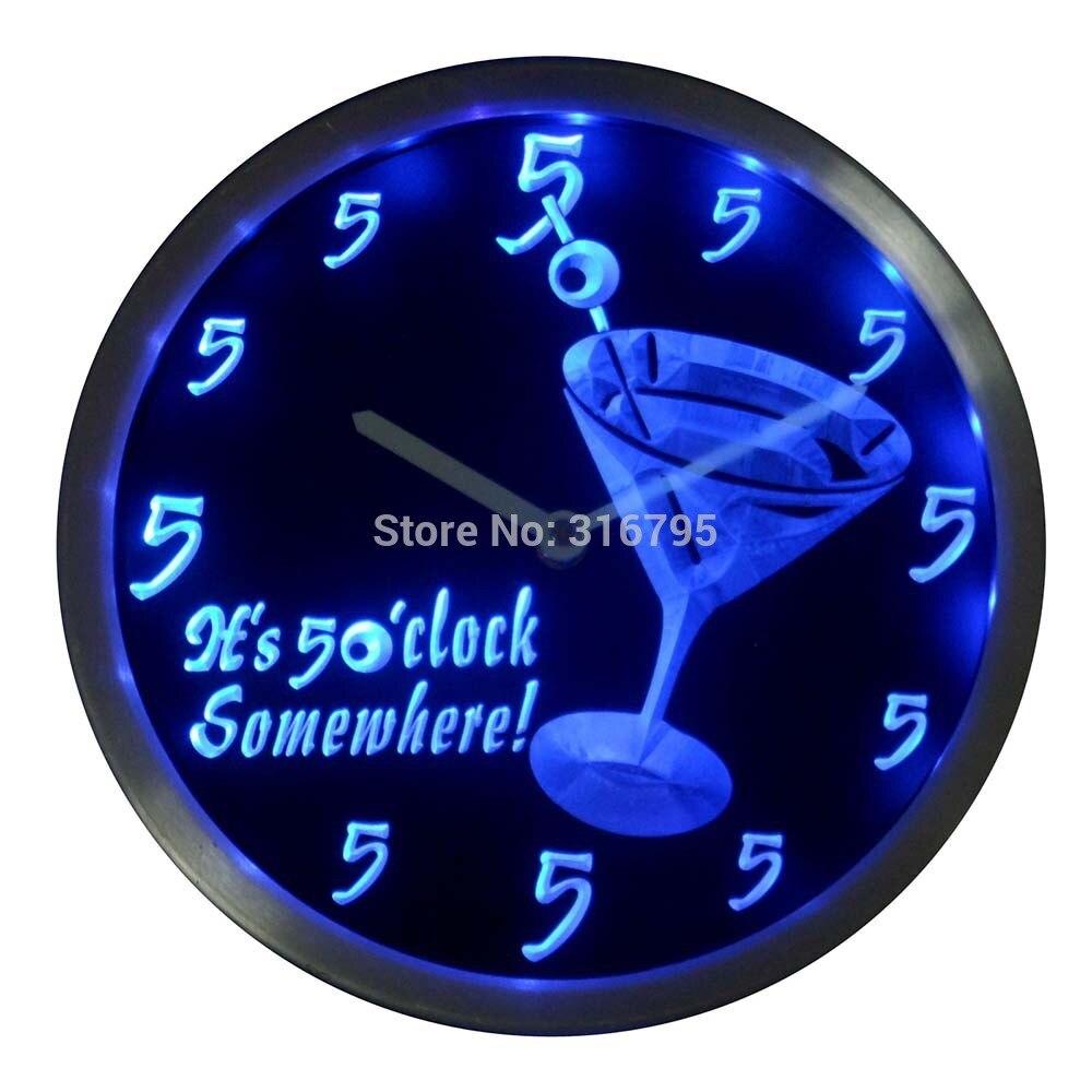 Nc0459 é 5 horas pm em algum lugar cocktails bar cerveja presente luz de néon led relógio de parede