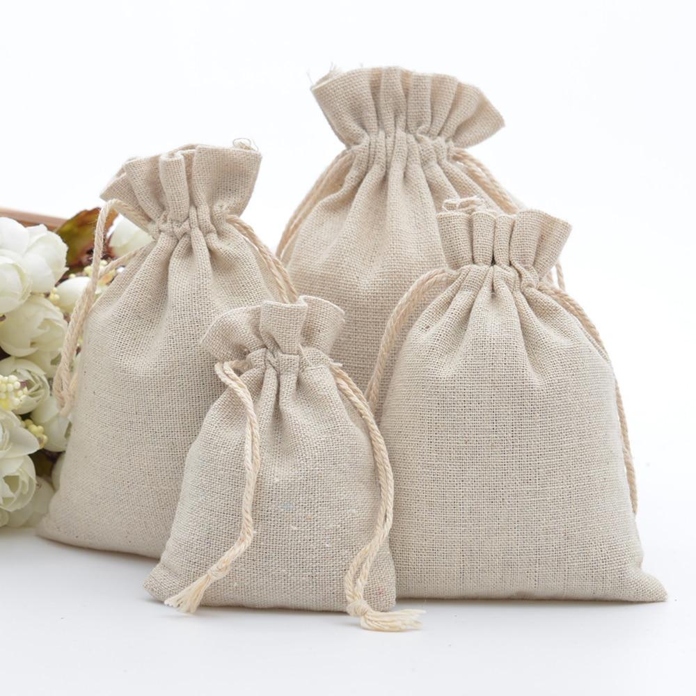 50 шт. 100% хлопковые пакеты на шнурке, рустикальные хлопковые муслиновые подарочные пакеты, Рождественские Свадебные сувениры, мешок для упак...