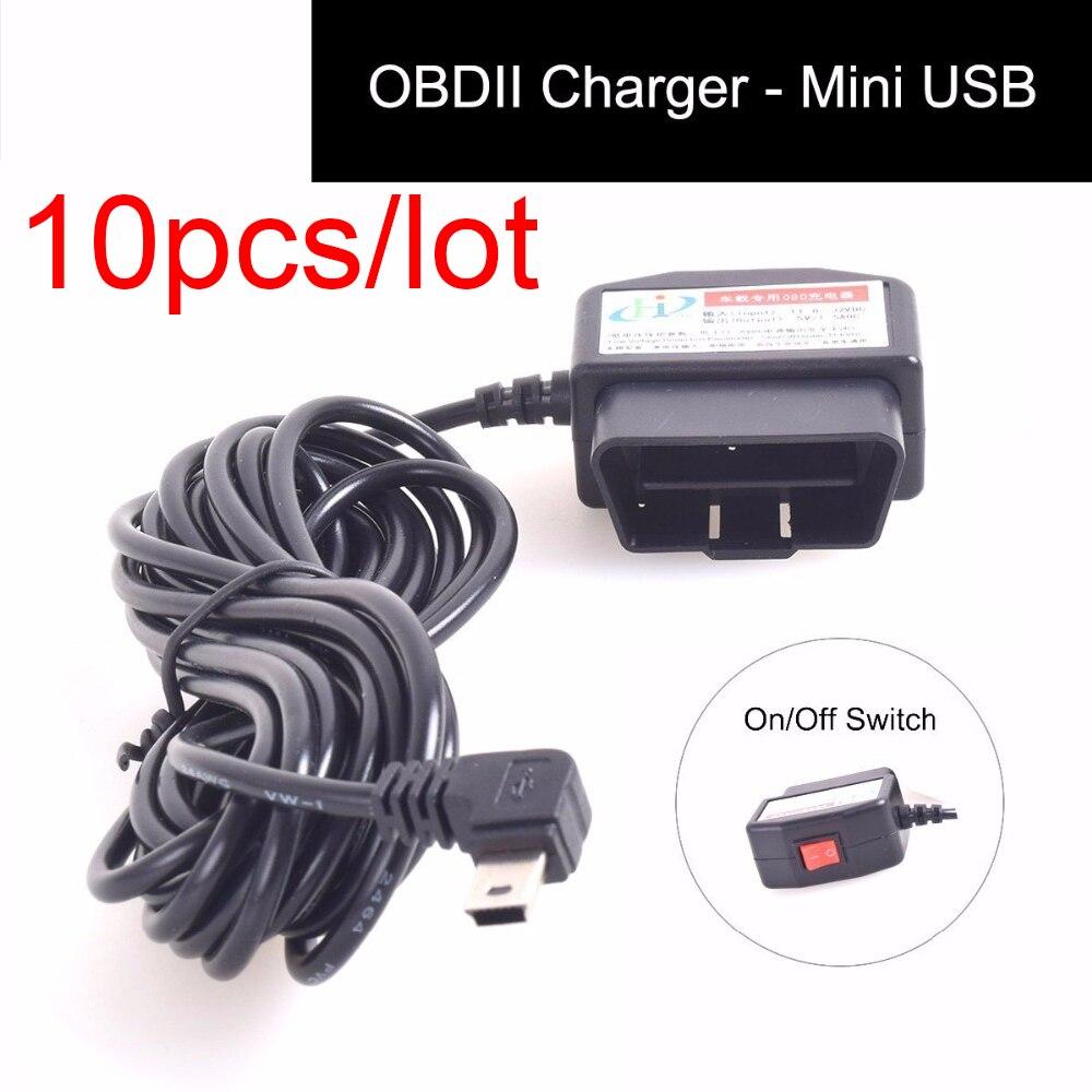 10 pz/lotto OBDII Cavo di Ricarica Mini USB Adattatore di Alimentazione con Interruttore Button16Pin OBD2 Connettore Collegamento Diretto Caricabatteria Da Auto