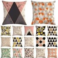 pink marble geometric decorative cotton linen cushion cover pillow pillowcase 4545 throw pillow home decor pillowcover 40602