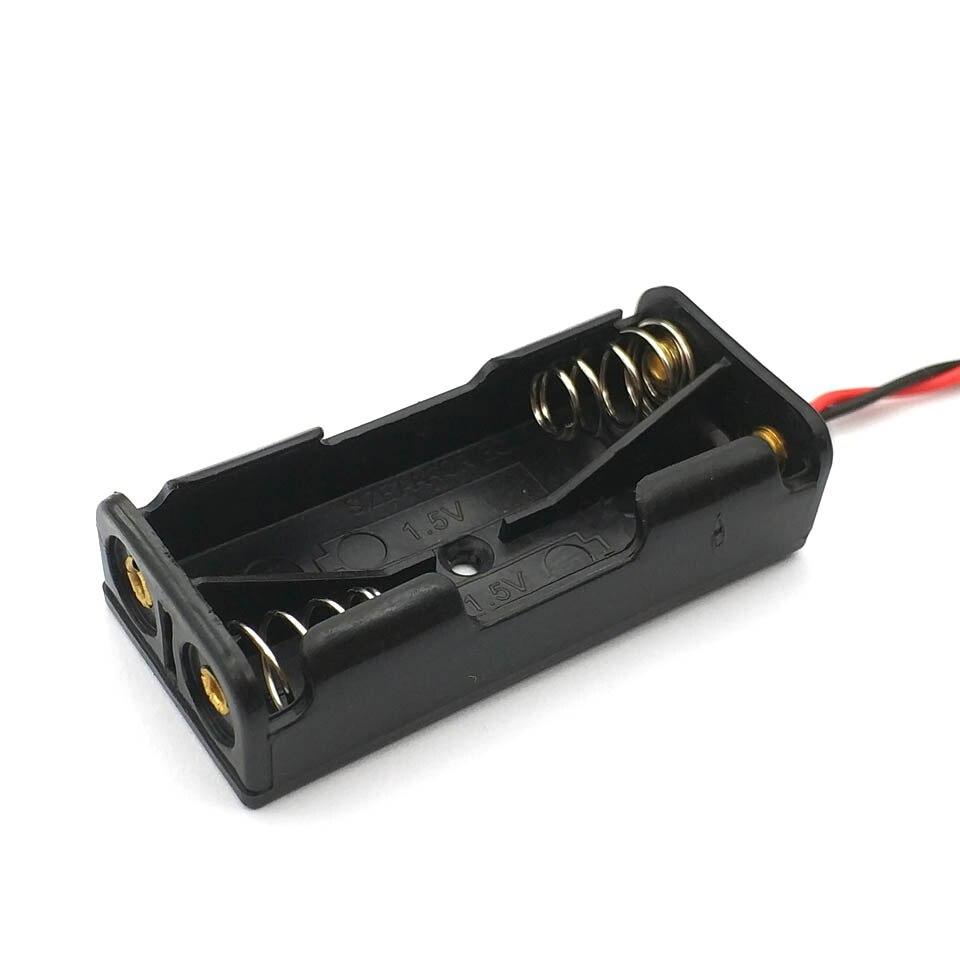 Estuche protector de batería de plástico negro, cable 2x1,5 V AAA, 10 Uds.