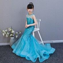 Robes sirène royale à fleurs pour filles   À paillettes, sans manches, pour fête de mariage et anniversaire, Costume formel pour enfants, AA261