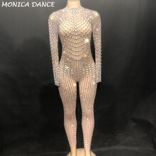 Women Sexy Stage Bling Dj Jumpsuit Net Yarn Full Of Sparkling Crystals Pearls Bodysuit Nightclub Party Dancer Singer Stage Wear