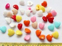 1200pcs Rainbow Plastic Heart Shank Buttons Mixed Colors 15mm -LK0046