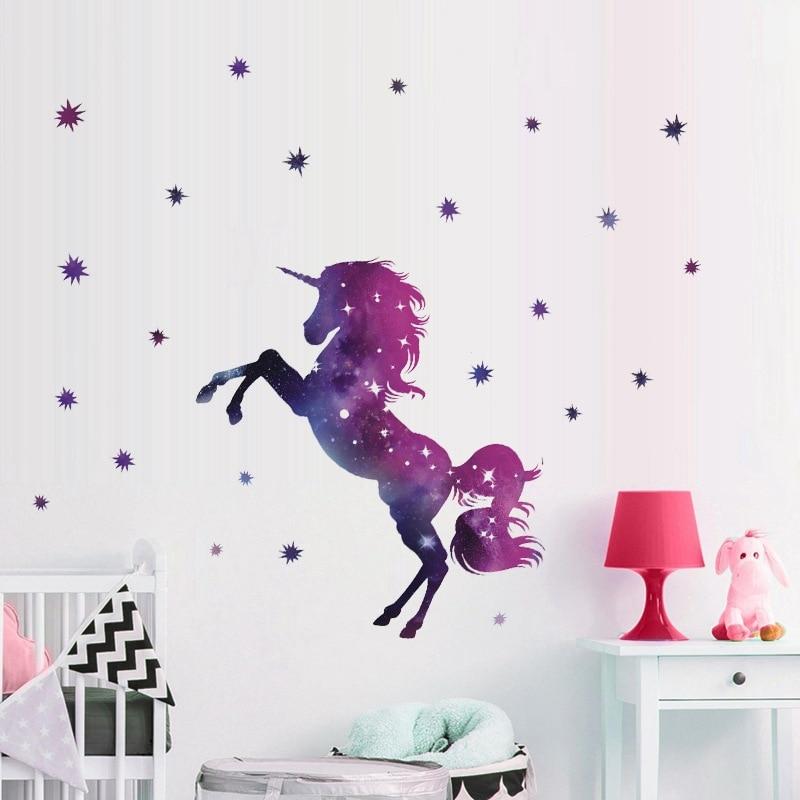 Fantasia Unicórnio VINIL Adesivos de Parede Vinil Removível Mural Home Decor Decal Poster Mural Presente DIY Papel Fotográfico