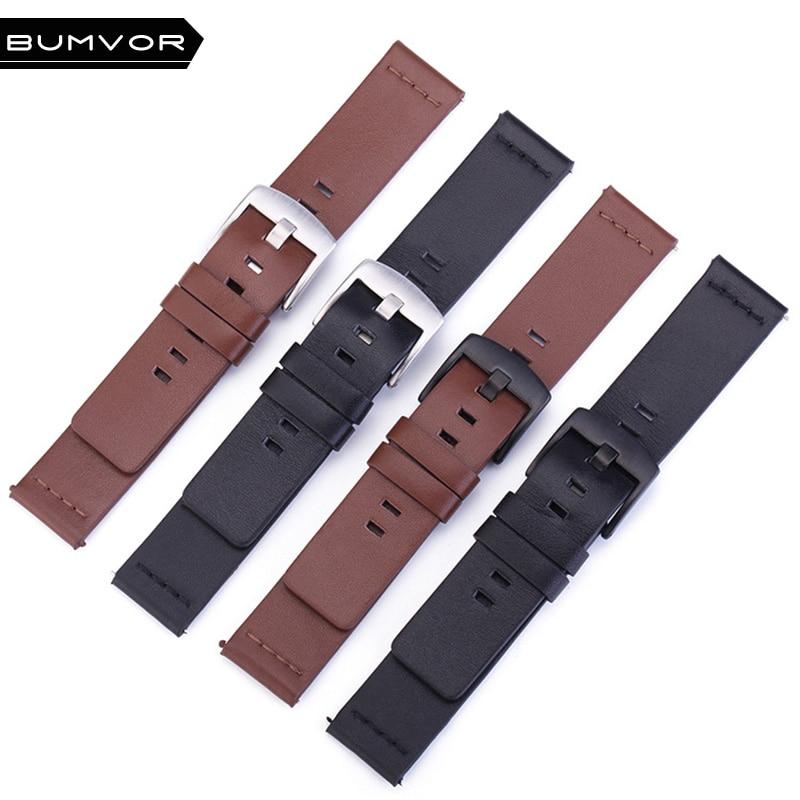 Correa de reloj de cuero italiano 20mm 22mm para Samsung Galaxy Watch 42mm 46mm SM-R810/R800 rápido correa deportiva para la muñeca