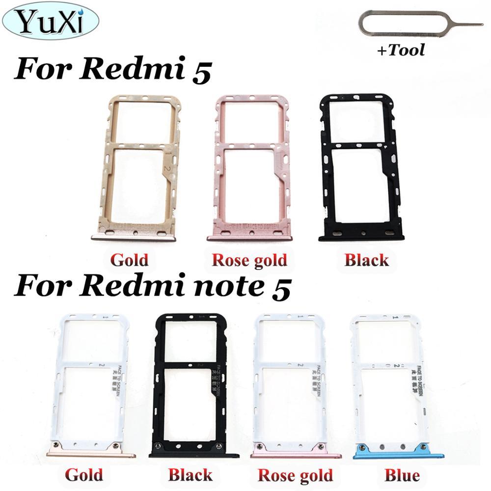 YuXi Für Xiaomi Redmi 5 SIM Karte Tray SIM Karte Halter Adapter für Xiaomi Redmi hinweis 5 note5 SIM Karte slot Miscro SD TF Karte Fach