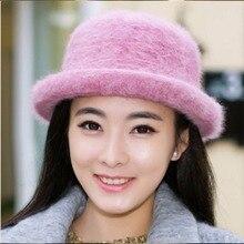 Chapeau seau femme   Chapeau dhiver, laine de lapin, couleur unie, rose chaud, chapeau