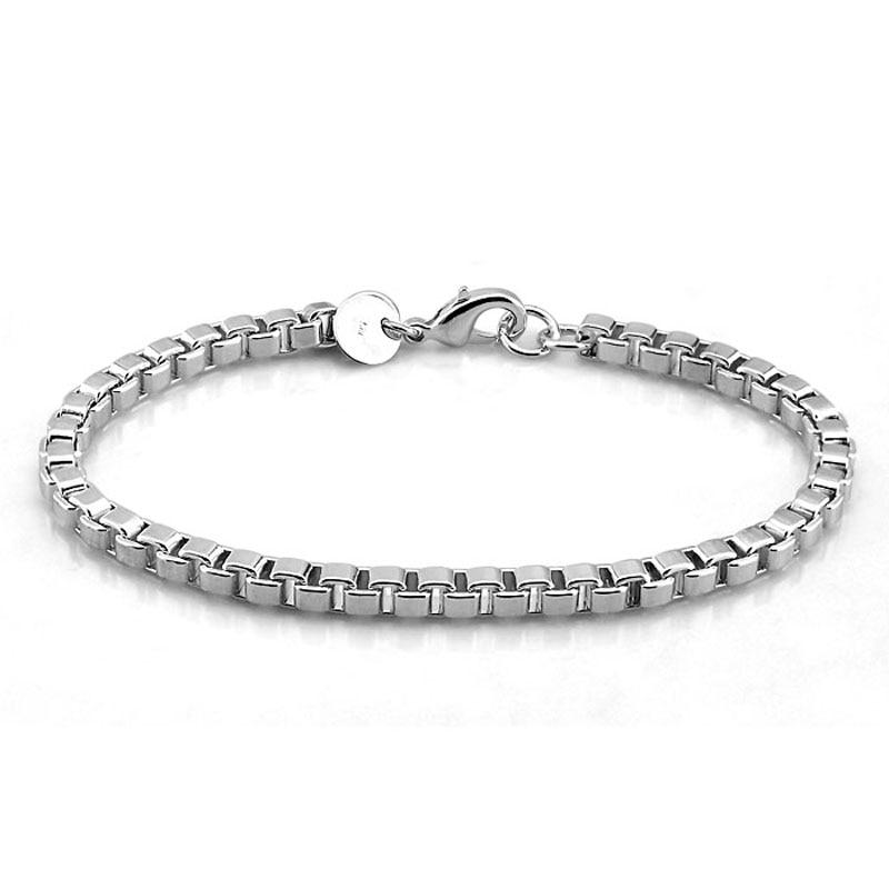 Men bracelet Genuine Solid 925 Sterling Silver 4MM 19cm Box Chain bracelet Men fashion 100% pure silver Bracelet silver jewelry