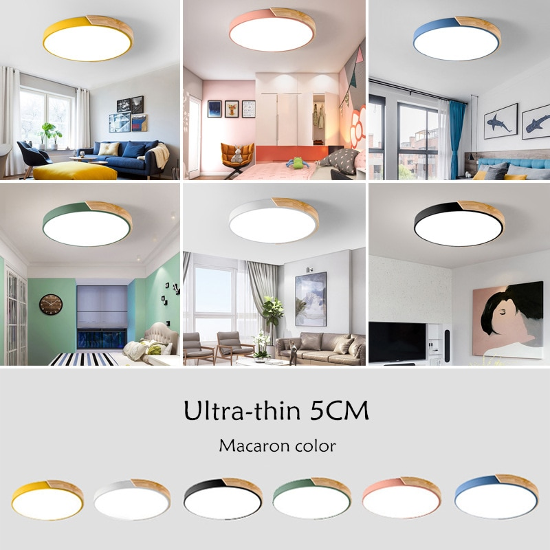 Modern Ultra-Thin LED 5cm Ceiling Light Surface Mount Flush Panel Round Solid Wood Ceiling Lamp For Restaurant Foyer Bedroom Bar  - buy with discount