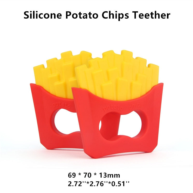 Chenkai 50PCS BPA Free Silicone Potato Chips Baby Pacifier Teether Chewable Pendant Nursing DIY Dummy Sensory Toy Accessories