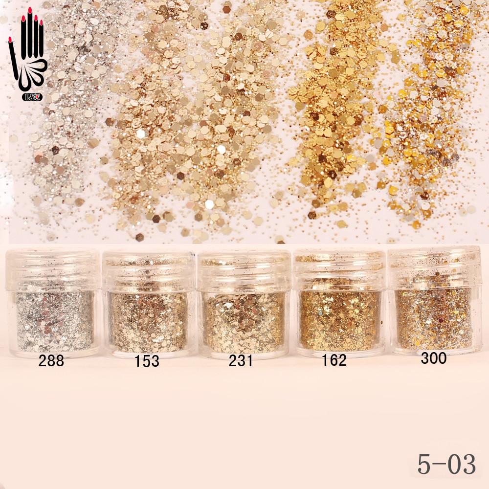 1 фляга/коробка для ногтей, 10 мл, цвета шампанского, серебристого, золотого, смешанный порошок с блестками, порошок для гелевого дизайна ногтей, 5-03