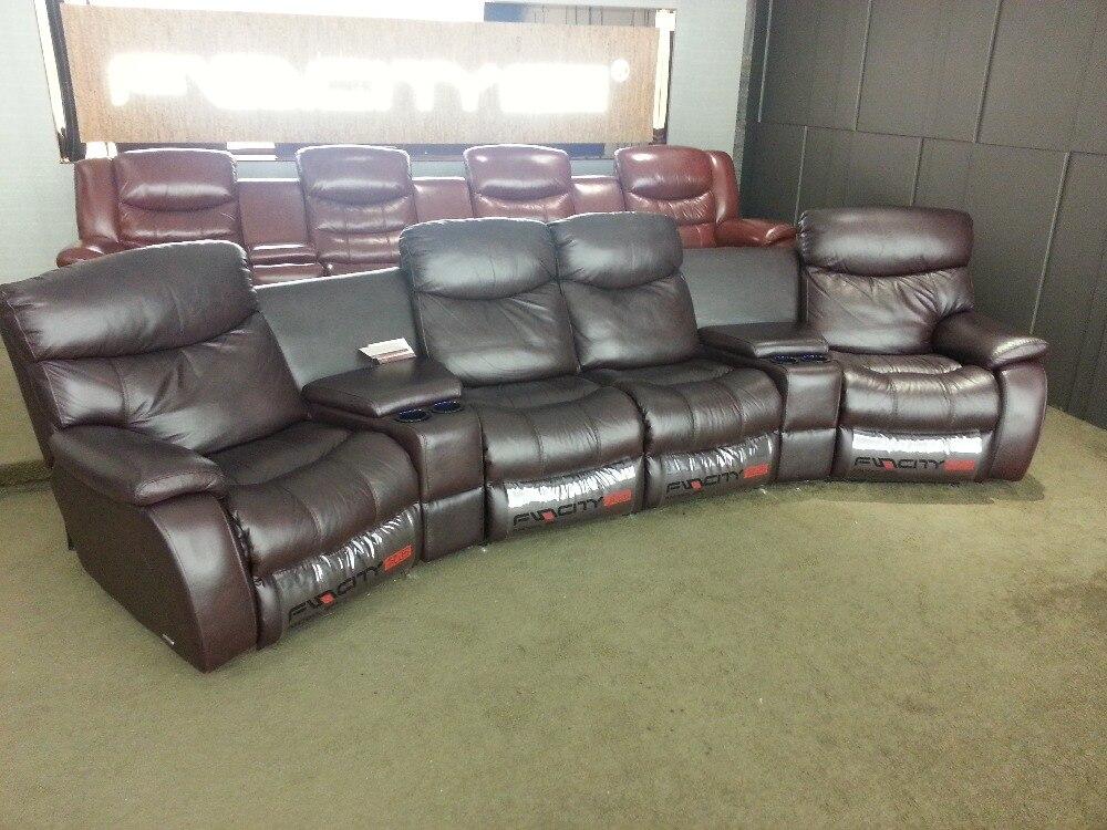 Sofá reclinable para sala de estar, sofá reclinable de piel auténtica de vaca, sofá reclinable de piel real, 4 plazas con caja de almacenamiento para armario