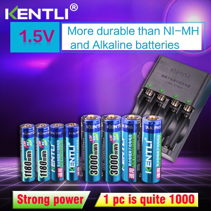 Смарт-зарядное устройство KENTLI, 8 шт., 1,5 В, aa, aaa, литий-ионный аккумулятор + 4 слота, AA, AAA, литий-ионный аккумулятор