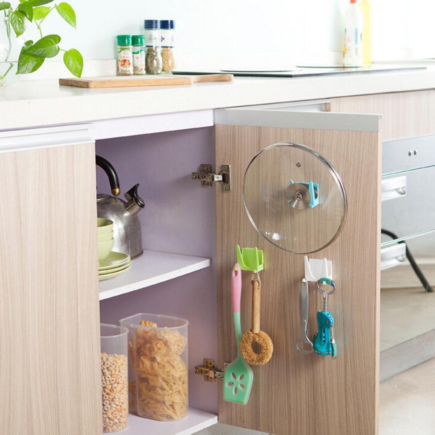 Olla de cocina de plástico, tapa de la sartén, funda, ventosa, herramienta, estante soporte de almacenamiento, drop shiping jun7