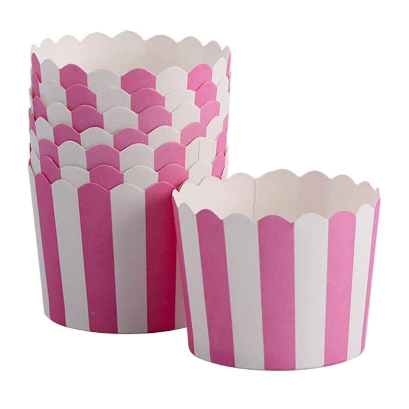 50 Uds Rosa Blanco rayas envoltorio de papel Para Magdalena helado Magdalena de repostería tazas casos boda/ducha/bebé ducha decoración de fiesta de cumpleaños