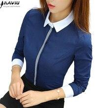 New fashion women cotton shirt spring formal elegant blouse office ladies work wear plus size tops navy blue white