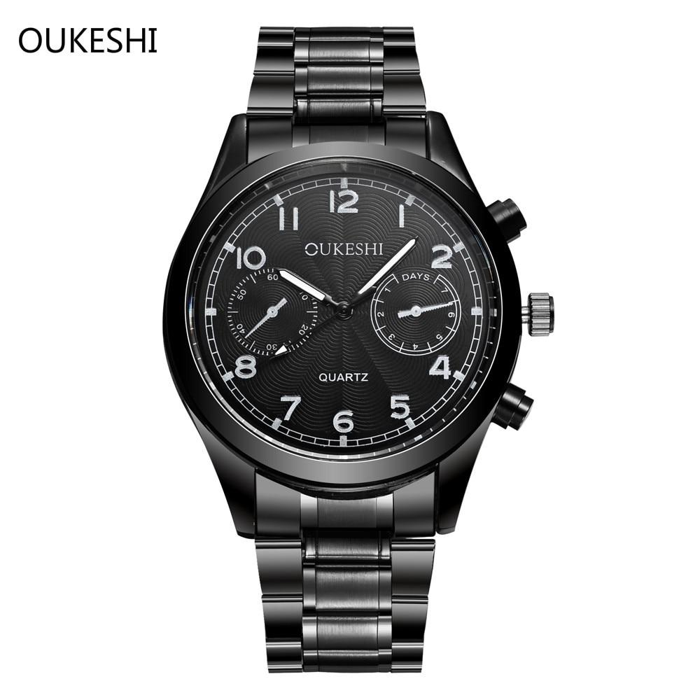 Marca de lujo oukeshi acero inoxidable de cuarzo reloj de los hombres reloj de moda impermeable relojes Relogio Masculino