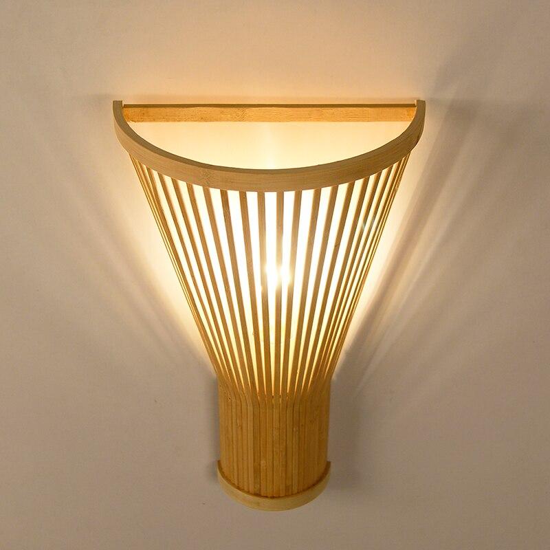 Chinese Bamboo Wall Lamp Individual Pastoral Japanese Wall Lamp Agricultural Teahouse Hotel Stairway Corridor Lantern