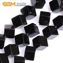 Квадратные бусины черного агата для изготовления ювелирных изделий, незакрепленные бусины высшего качества, нитка 15 дюймов, оптовая продаж...