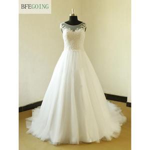 White Tulle Appliques A-line Wedding Dress Court Train Floor-Length  Sleeveless Real/Original Photos  Custom made