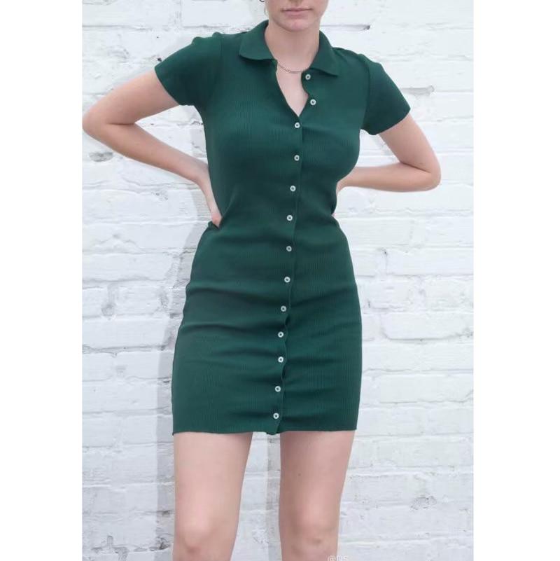 Summer Preppy Style Women Rid Knit Sheath Mini Solid Bodycon Dress Turn-down Collar  Short Sleeve Single Breasted Button Dress