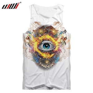 UJWI Tank Top White New Arrivals Fashion Men Cool Psychedelic Eye Printed 3D Tanktops Teens O Neck Sleeveless Sportwear Shirts