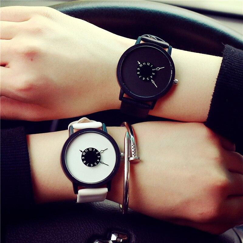 Reloj Casual de cuarzo Harajuku creativo, reloj de marca de lujo para mujer, reloj de pulsera para parejas, reloj de mujer para amantes