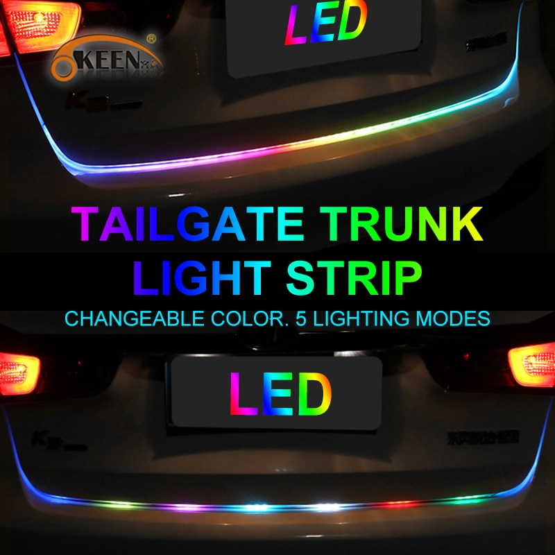 OKEEN 47.6inch Dynamic streamer led trunk strip Light with yellow turn signal car Tailgate LED flash Light Bar Reverse strips
