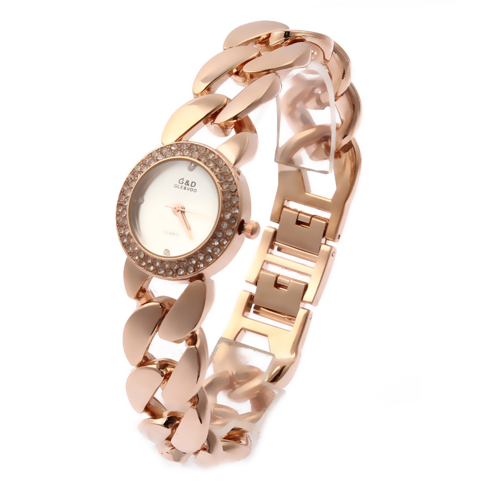Relogio Feminino G&D Rose Gold Women's Quartz Wristwatches Stainlee Steel Analog Bracelet Jelly Fashion Reloj Mujer Clock Gift