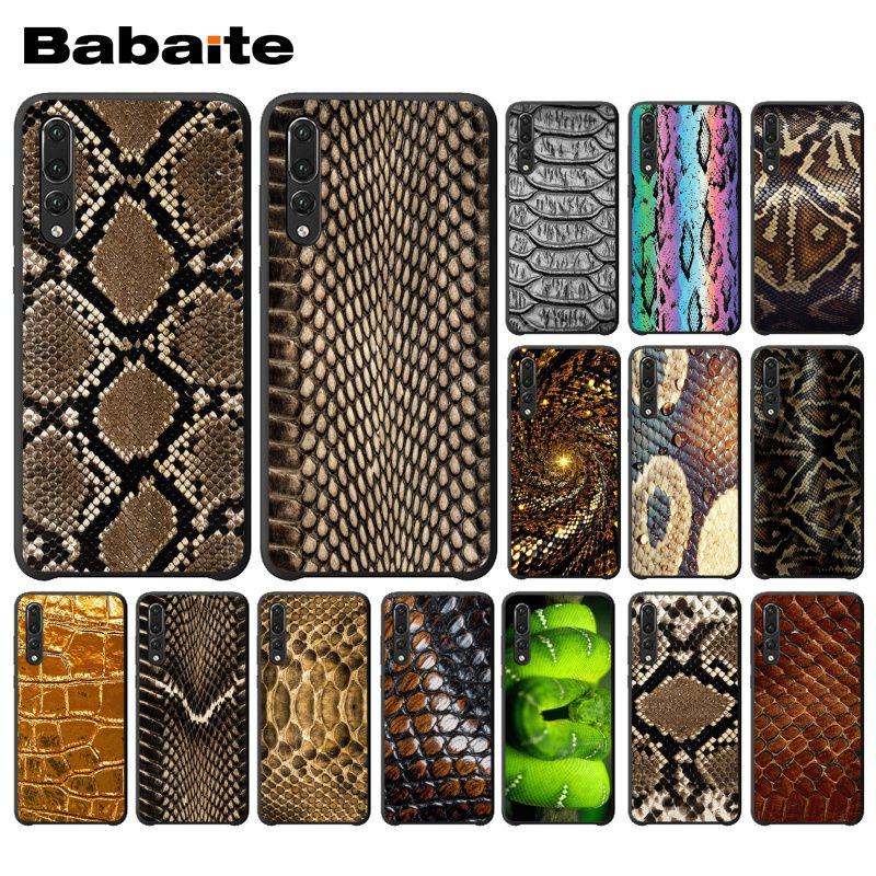 Carcasa protectora de gama alta Babaite python amarillo oro piel de serpiente para Huawei Mate10 Lite P20 Pro P10 Plus Honor 9 10 funda para móvil