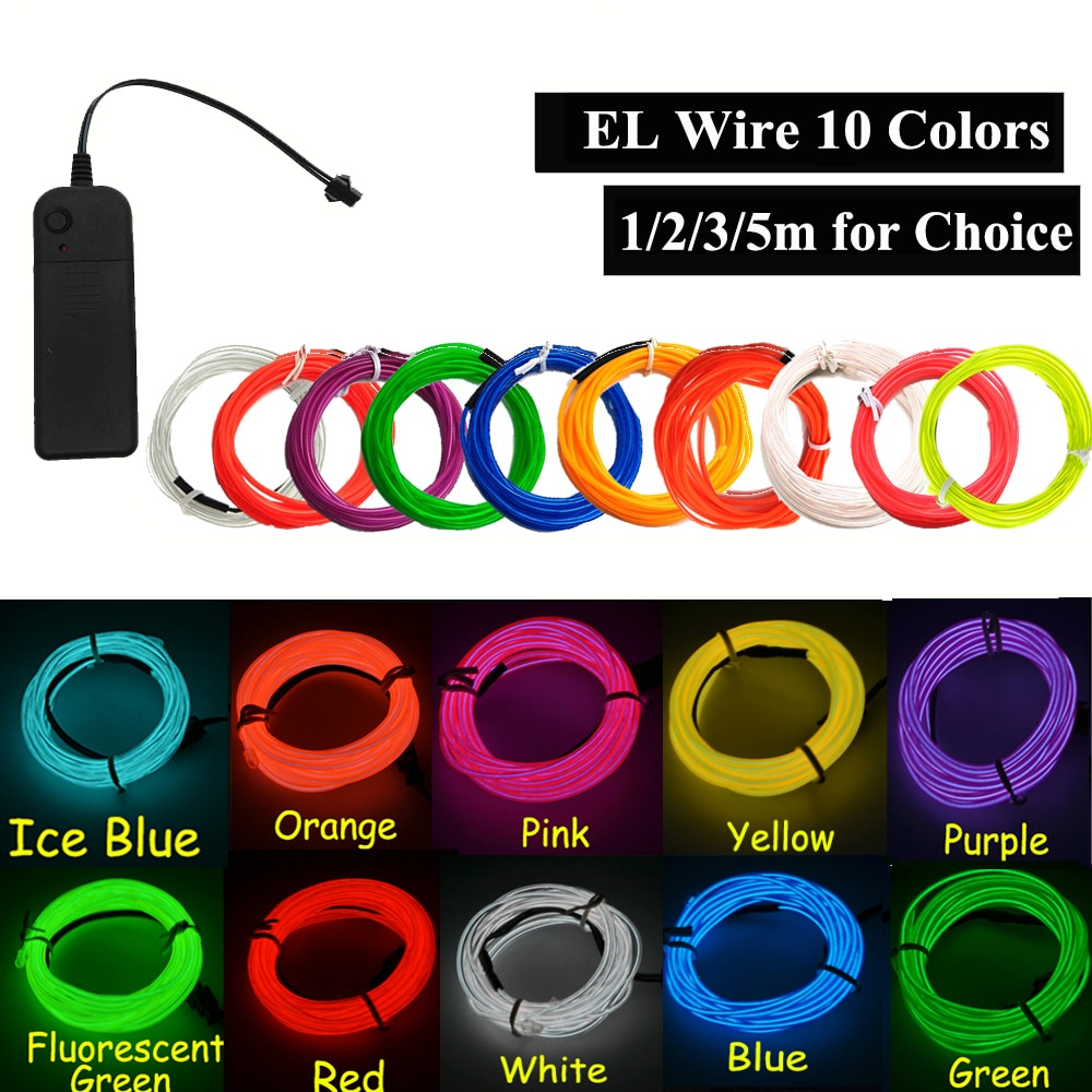 EL Neon Light Dance Party Decor car Lights Neon LED lamp Flexible 2.3MM EL Wire Rope Tube Strip With