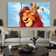 Décor mural pour chambre denfant   Dessin animé, film, image du roi du Lion de la forêt, toile, tableau imprimé, art moderne, 3 pièces