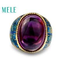 Améthyste naturelle 925 argent anneaux pierres précieuses émail anneaux couleur violette pour les femmes avec grand ovale 13X18mm artisanat Vintage fine bijoux
