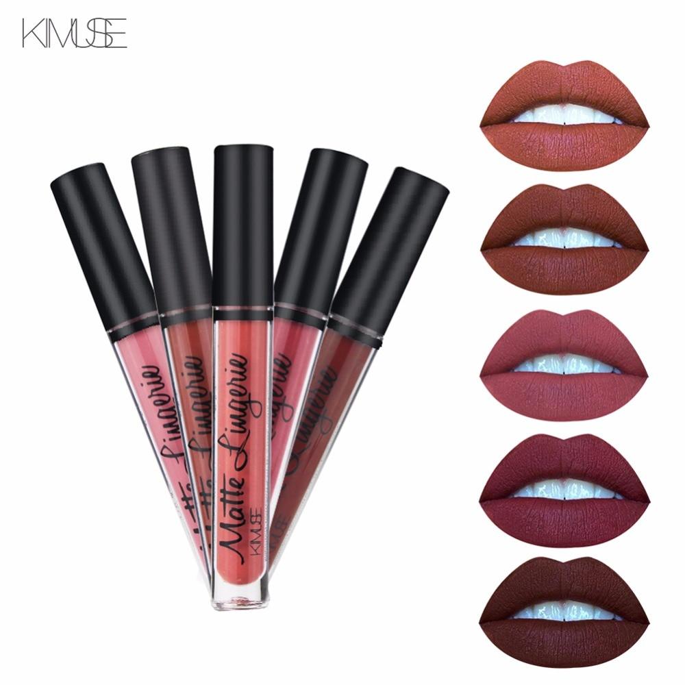 Lápiz labial líquido KIMUSE, lápiz labial mate de larga duración, brillo de labios mate impermeable, pigmento, maquillaje negro oscuro púrpura, lápiz labial