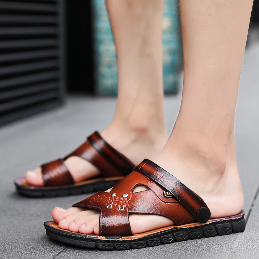 Sandálias de verão masculinas, sandálias casuais confortáveis de couro, sandálias slip-on, chinelos masculinos