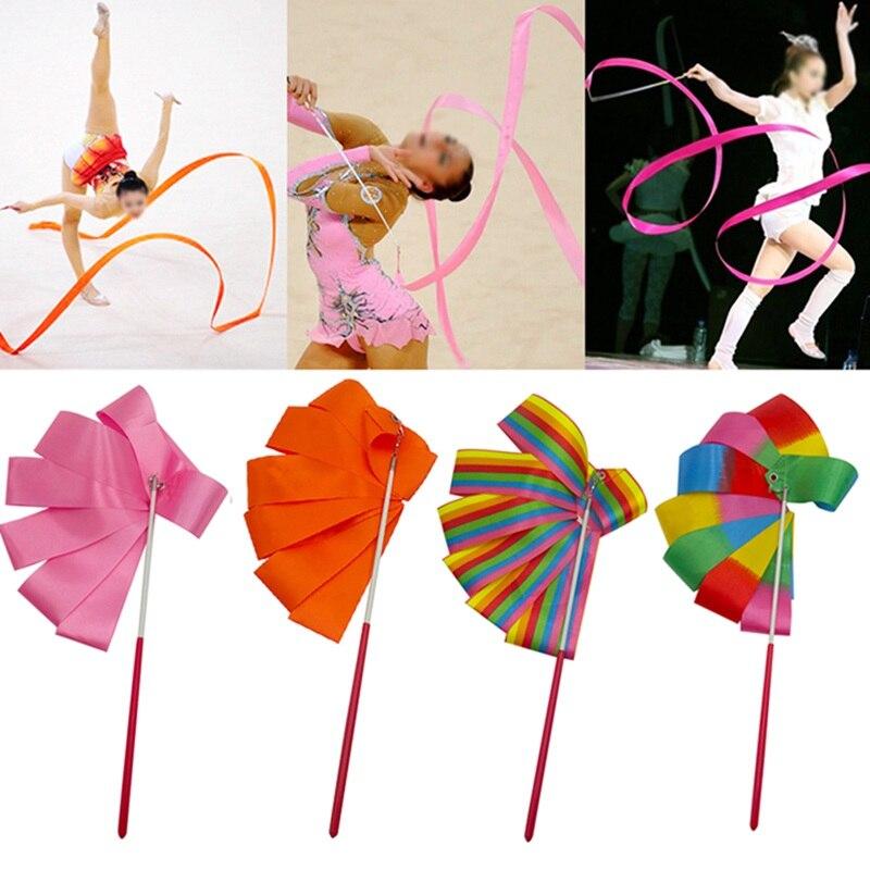 2 M/4 M colores de gimnasia cintas baile cinta rítmica arte ballet gimnástico Streamer varilla giratoria para entrenamiento de gimnasia profesional