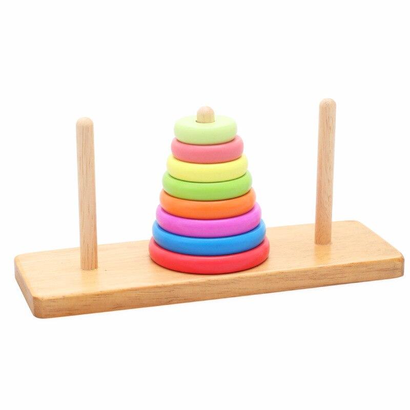Novo clássico de madeira matemática quebra-cabeças torre de hanói brinquedos de madeira educativos para as crianças para desenvolver inteligência