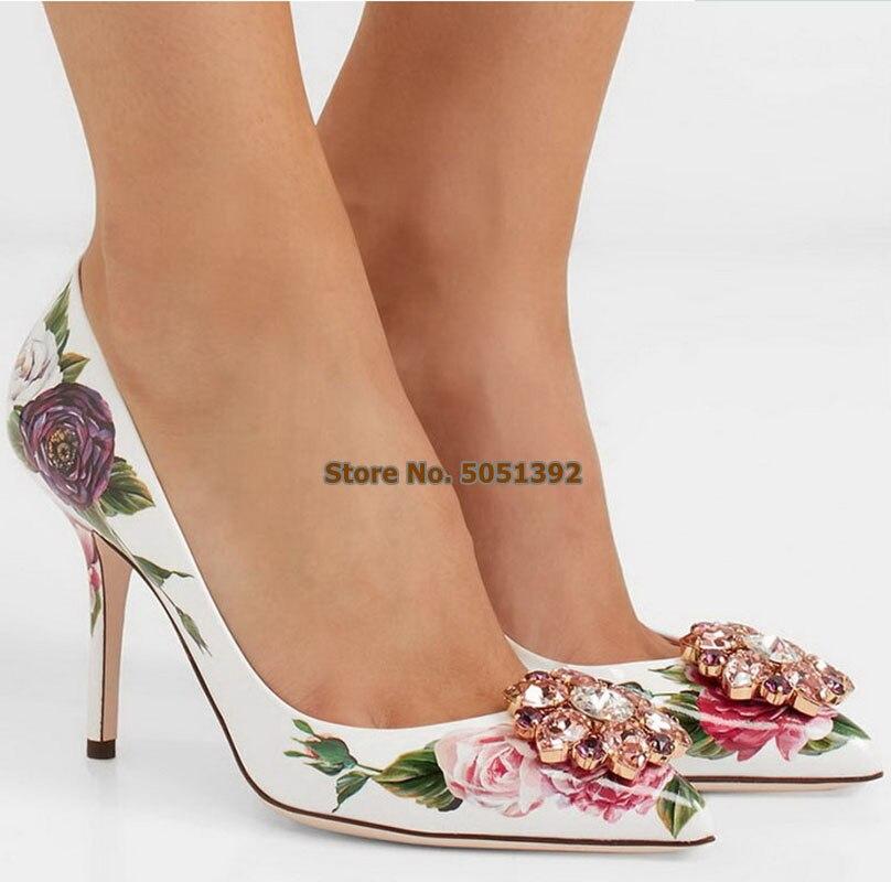 Zapatos de salón de flores con punta estrecha y tacón alto para mujer