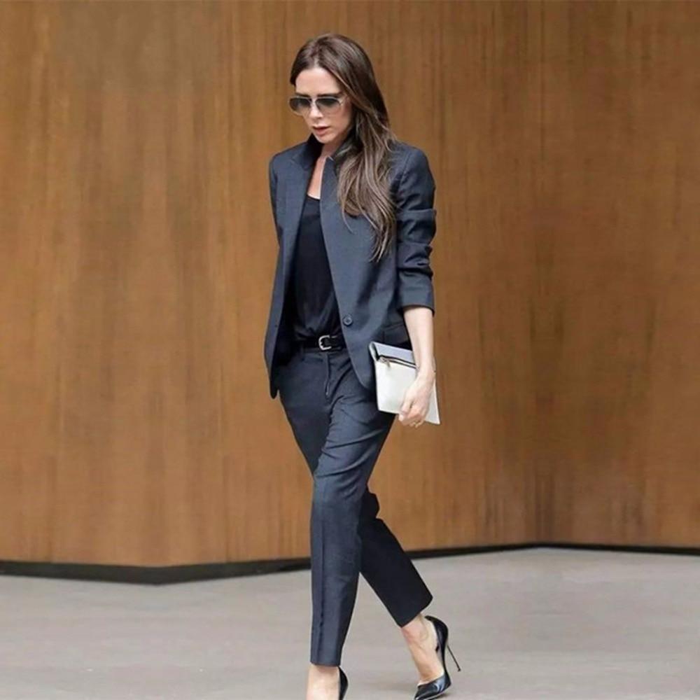Custom 2 Piece Set Black Womens Business Suits Female Office Uniform Ladies Trouser Suits Design Evening Tuxedo Trouser Suit W60