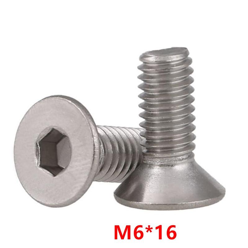 100 piezas DIN7991 M6 * 16 tornillo hexagonal tornillo cabeza avellanada plana perno 304 Acero inoxidable A2-70 M6X16mm pernos
