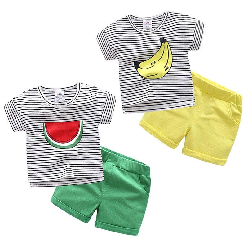 Conjunto de ropa de verano para bebés y niños, conjunto de ropa a rayas con estampado de plátano sandía y frutas + conjunto de 2 uds de pantalones cortos