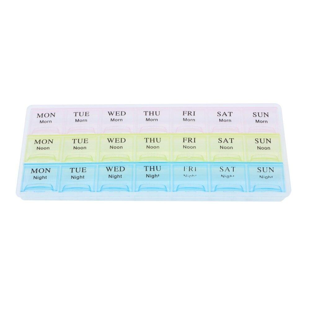 Zlrowr portátil 7 dias 21 slots semanal pílula medicina caixa de armazenamento organizador recipiente caso