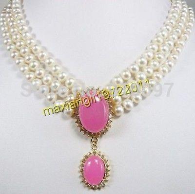 LHX54013>>> 3 filas de la hermosa perla colgante collar