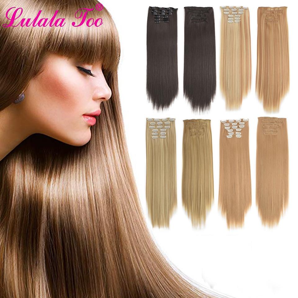 Clip recto en extensiones de cabello largo sintético pelo para cabeza completa extensión 16 Clip de alta temperatura de fibra negro marrón peluquín falso