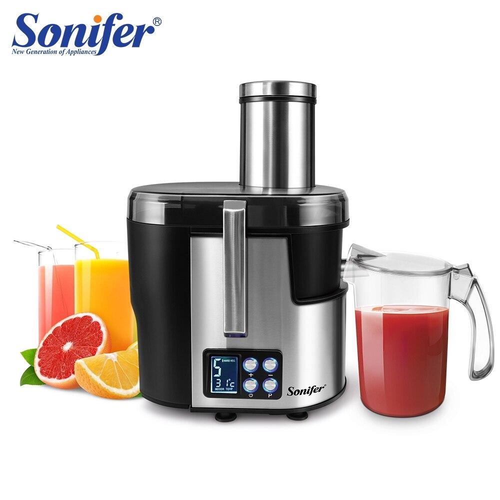 Exprimidores de acero inoxidable de 5 velocidades, pantalla LCD, Extractor de zumo eléctrico de 220V, máquina para beber frutas para el hogar Sonifer