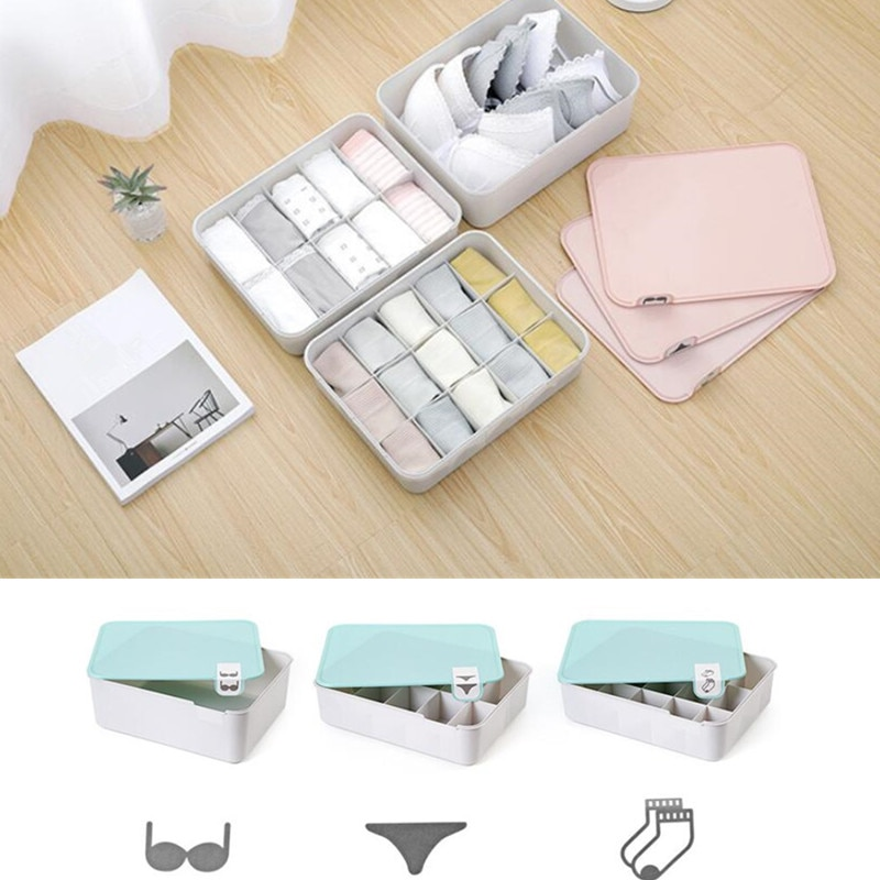3 colores decoración del hogar cubierta sujetador ropa interior caja de compartimiento de almacenamiento con logotipo