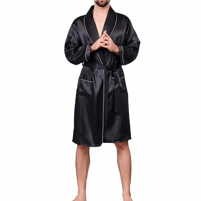 2019 New Men Black Lounge Sleepwear Faux Silk Nightwear For Men Comfort Silky Bathrobes Noble Dressing gown Men's Sleep Robes